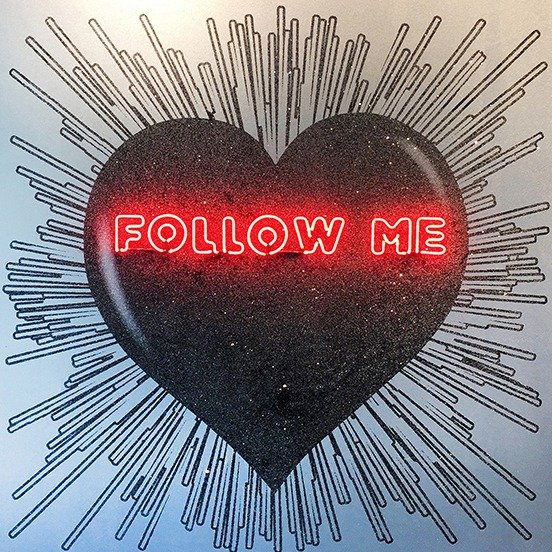 """An image of """"Follow Me"""" a Black hearth on Silver- Red Neon. Medium: Hand Painting / SilkScreen / Diamond Dust / Neon by Rubem Robierb"""