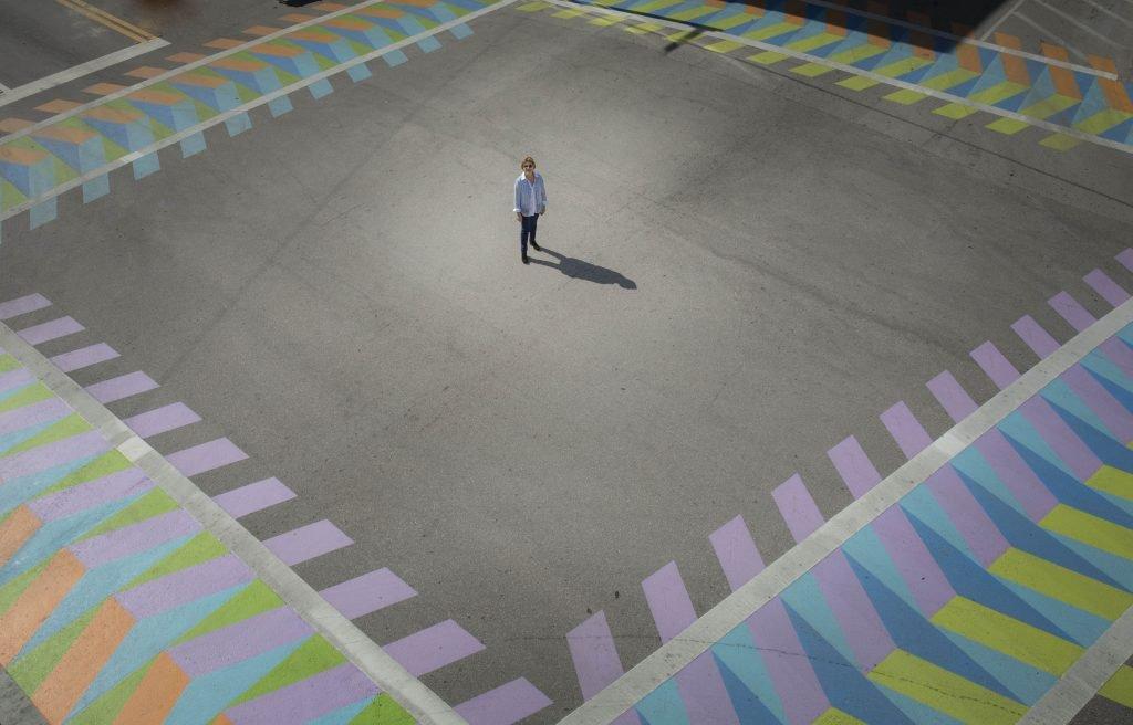 An image of a pedestrian walksaways designed by Carlos Cruz-Diez on Coral Gables