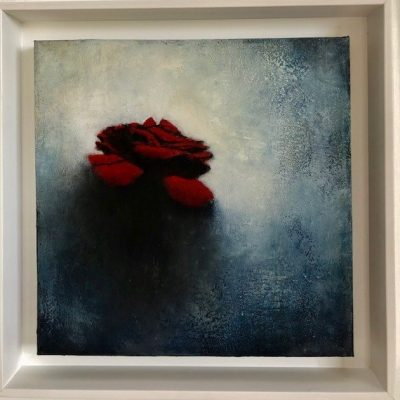 A image of Flores fondo azul a painting by Evelyn Valdirio